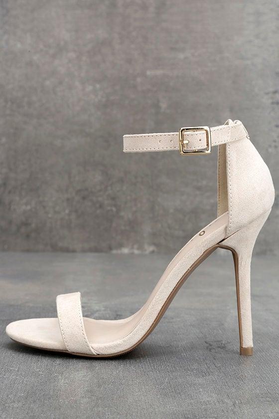 LULUS Elsi Bone Single Strap Heels 1
