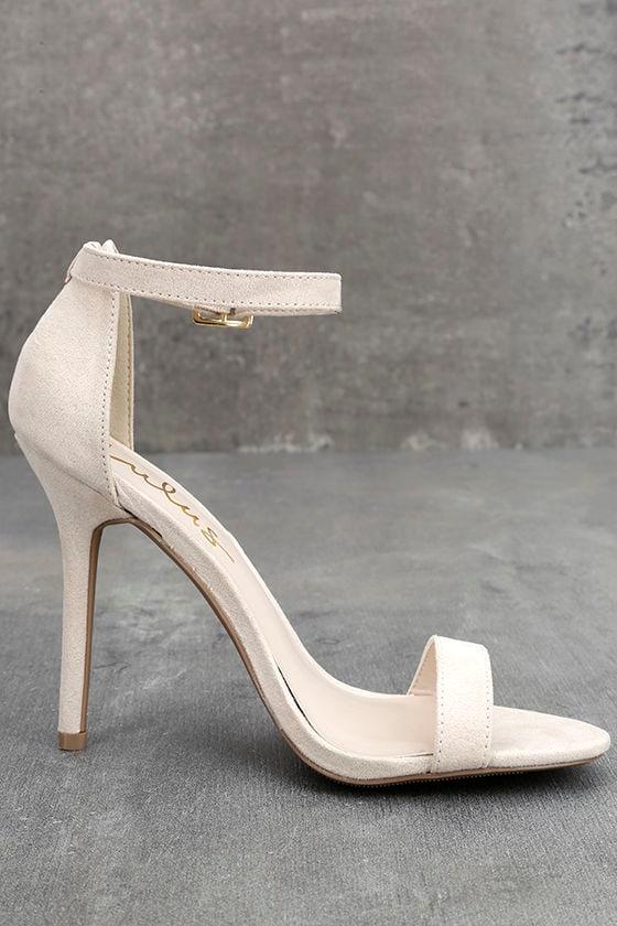 LULUS Elsi Bone Single Strap Heels 4