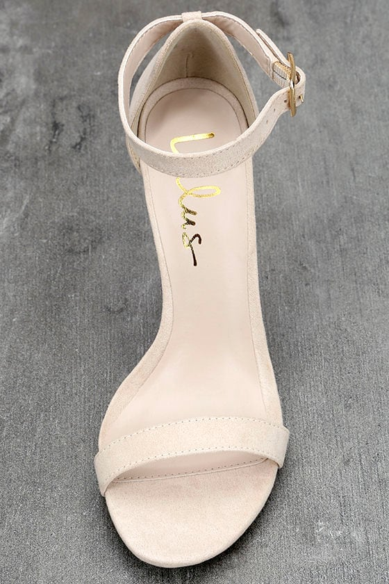 LULUS Elsi Bone Single Strap Heels 5