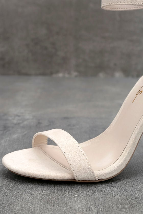 LULUS Elsi Bone Single Strap Heels 6