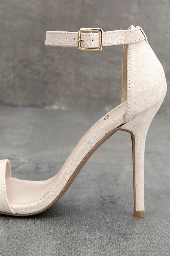 LULUS Elsi Bone Single Strap Heels 7