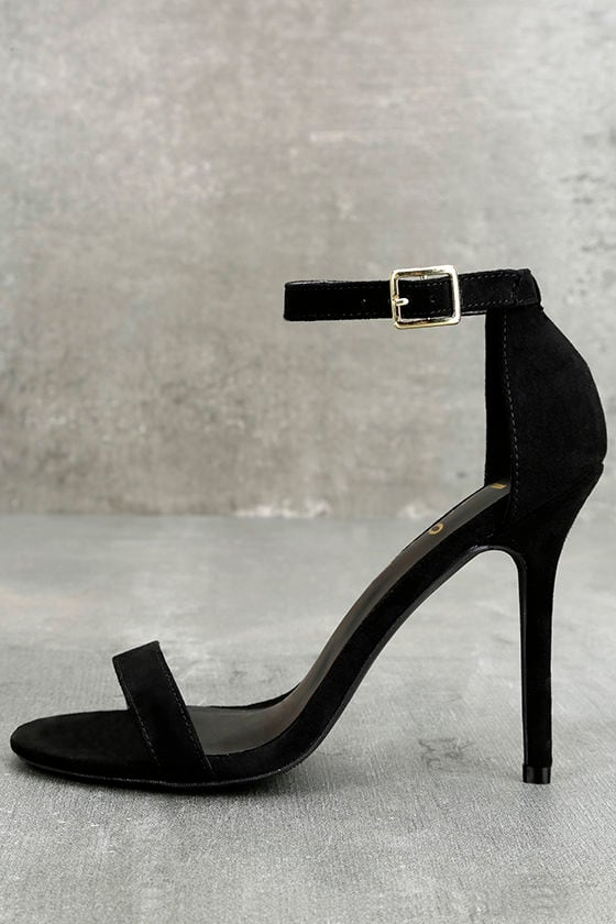 LULUS Elsi Black Single Strap Heels 1