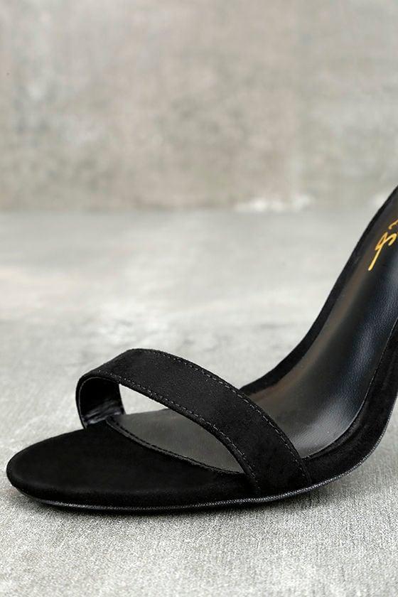 LULUS Elsi Black Single Strap Heels 6