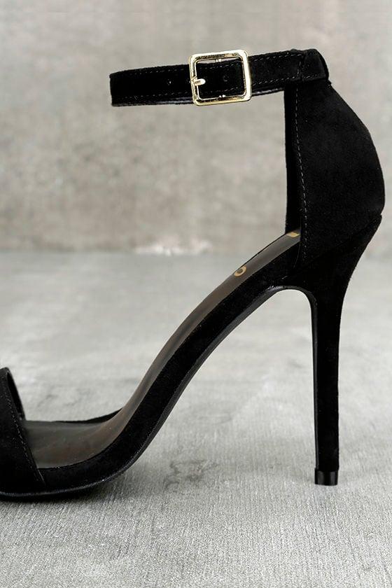 LULUS Elsi Black Single Strap Heels 7