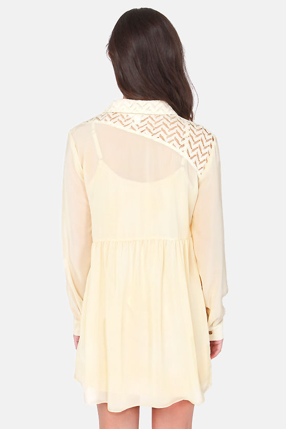 Volcom Space Case Cream Lace Dress at Lulus.com!