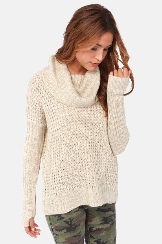 Element Eden Monsoon Sweater - Beige Sweater - Cowl Neck Sweater ...