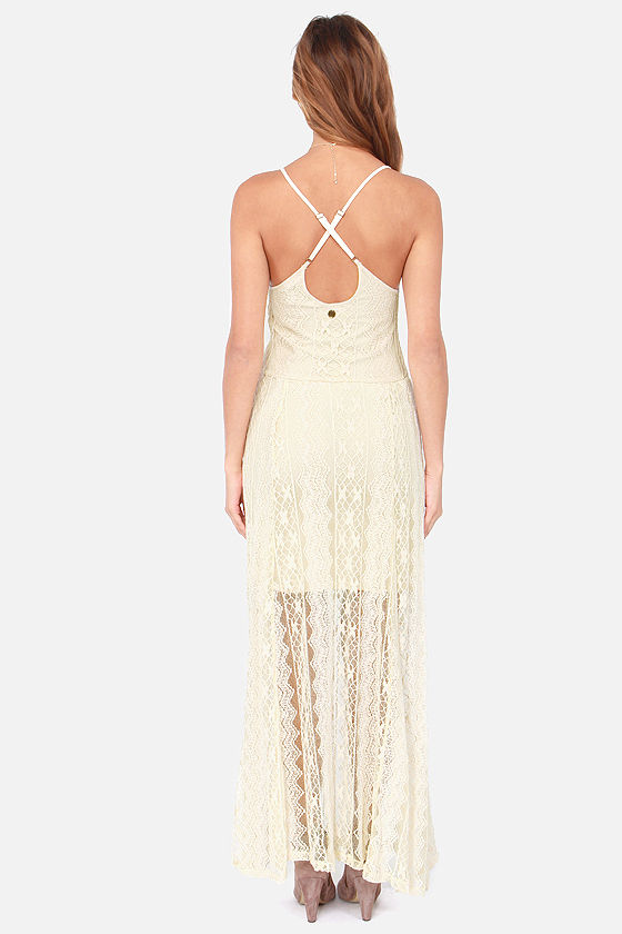 Billabong Cleverness Cream Lace Maxi Dress at Lulus.com!
