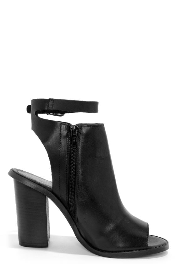 Sixtyseven Layla Vachetta Black Peep Toe Booties at Lulus.com!