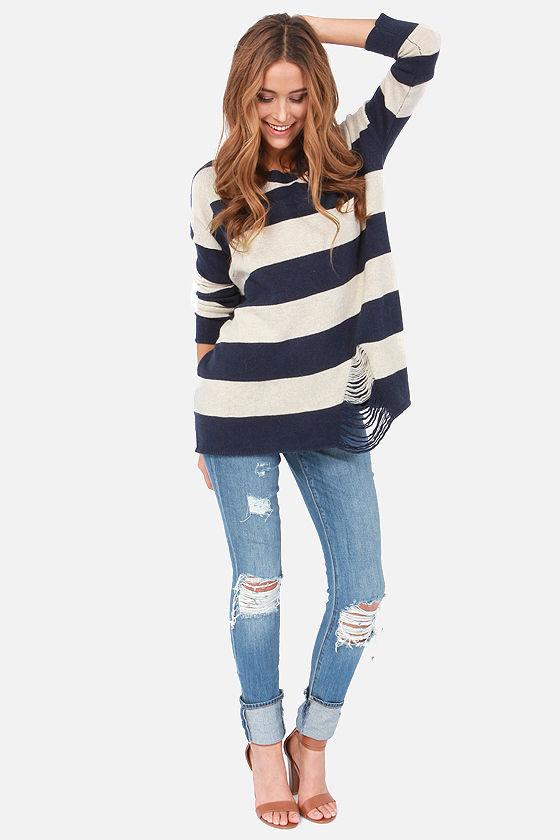 Cute Striped Sweater - Navy Blue Sweater - Beige Sweater - $49.00