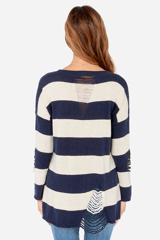 Daily Shred Beige and Navy Blue Striped Sweater at Lulus.com!
