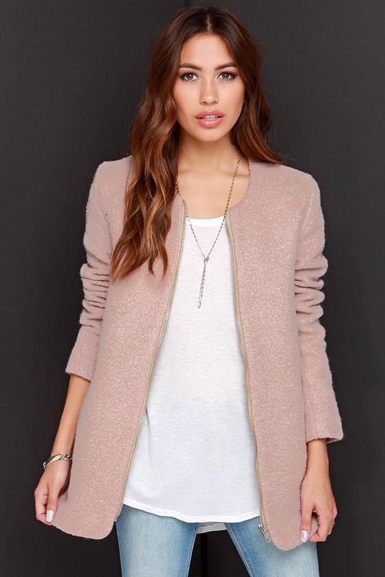 Pretty Blush Coat - Wool Coat - Beige Coat - Boucle Coat - $78.00