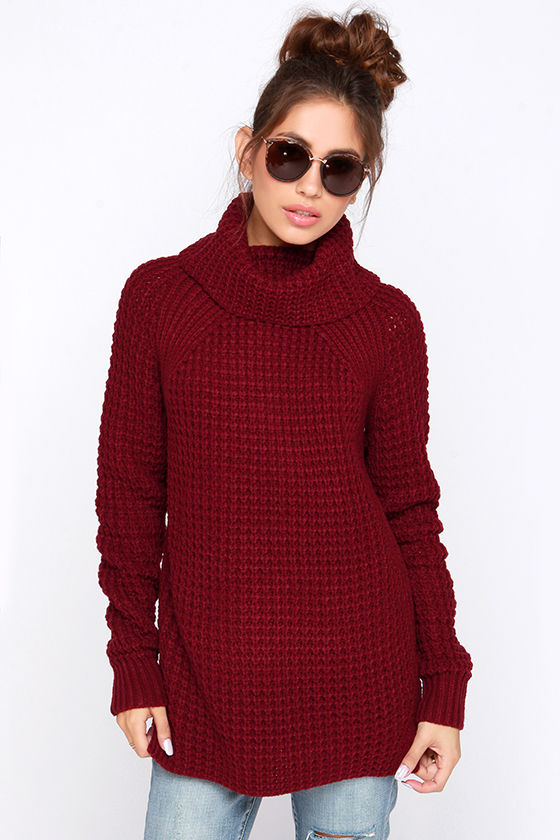 Cozy Burgundy Sweater - Waffle Knit Sweater - Cowl Neck Sweater ...