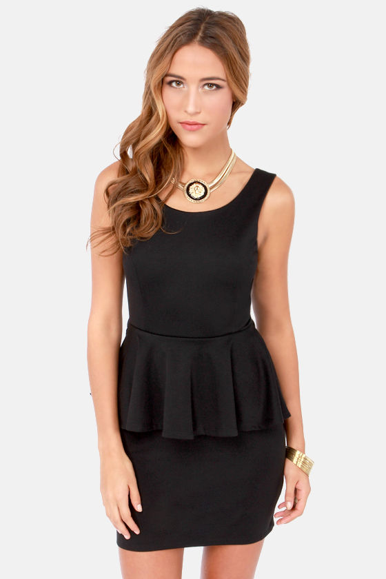 Happy Go Lovely Backless Black Peplum Dress at Lulus.com!