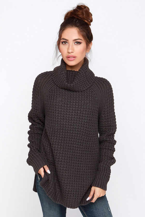 Cozy Grey Sweater - Waffle Knit Sweater - Cowl Neck Sweater - $55.00