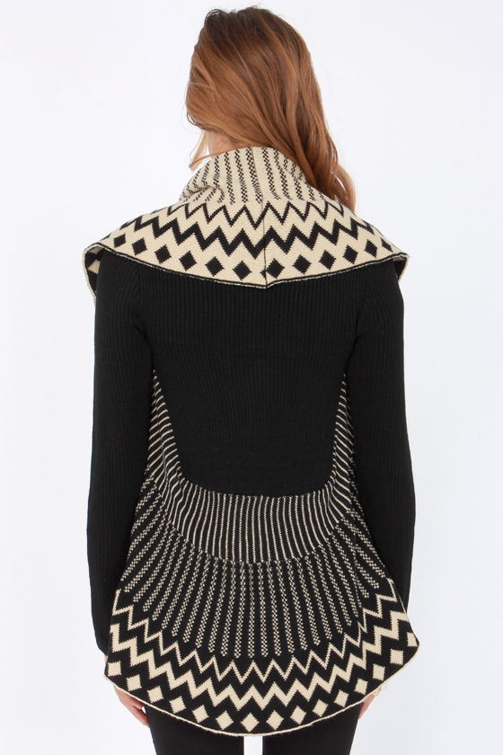 The Twain Shawl Meet Beige and Black Sweater at Lulus.com!