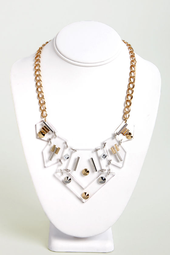 real frosted statement large taekman necklace housewives jewelry lucite link italian nyc kristen