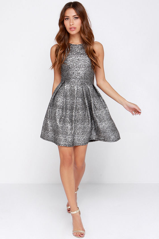 f743f266edf Pretty Silver Dress - Silver Fleck Dress - Skater Dress -  49.00