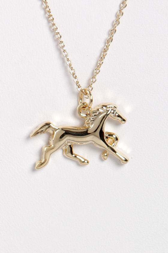 My Lucky Neigh Gold Horse Necklace at Lulus.com!