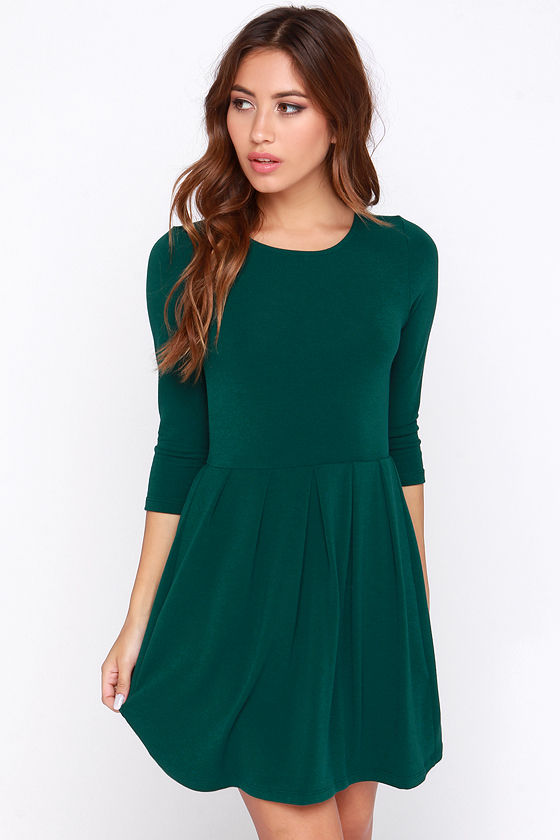 b22cde735e82 Chic Green Dress - Dark Green Dress - Skater Dress -  40.00