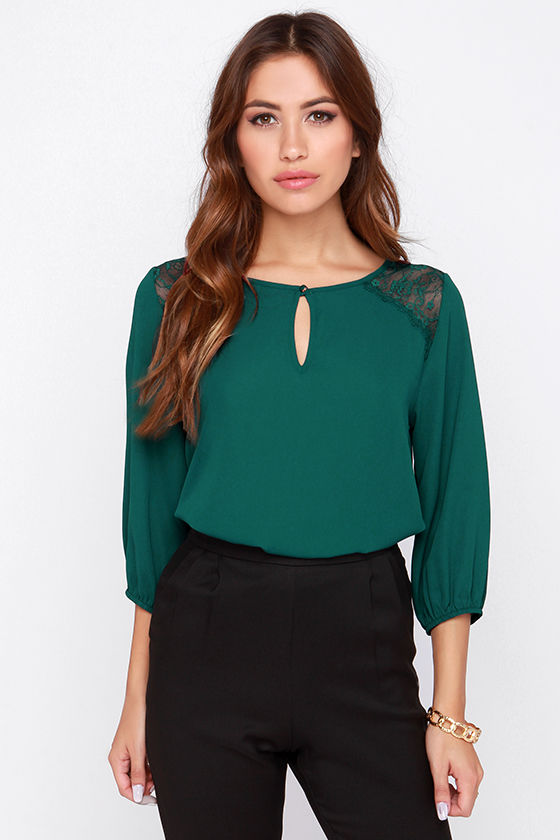 12dfb7f91fcab4 Cute Forest Green Top - Lace Top - Short Sleeve Top -  36.00