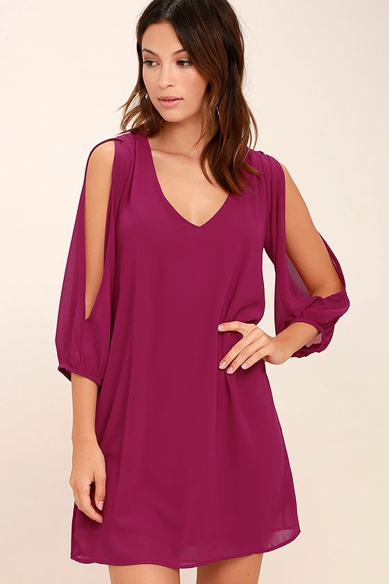 LULUS Exclusive Shifting Dears Magenta Long Sleeve Dress 1