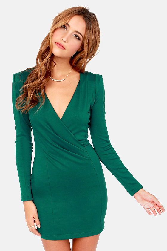 0780db20c5 Sexy Hunter Green Dress - Long Sleeve Dress - Wrap Dress -  35.00
