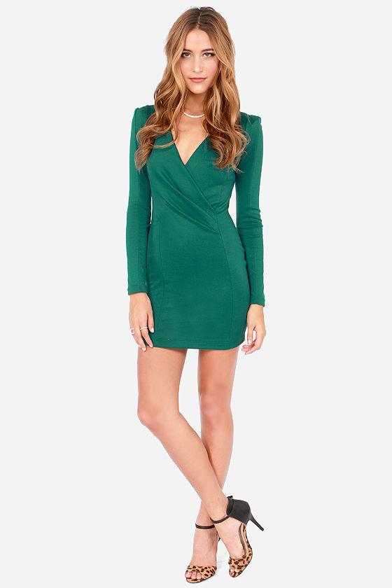 Sexy Hunter Green Dress - Long Sleeve Dress - Wrap Dress - $35.00