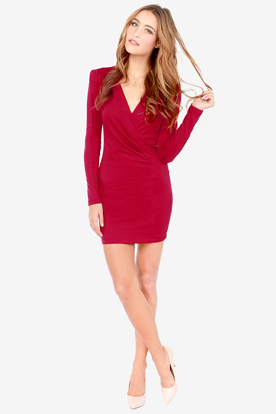 2b0c65f5dfb Sexy Wine Red Dress - Long Sleeve Dress - Wrap Dress -  35.00