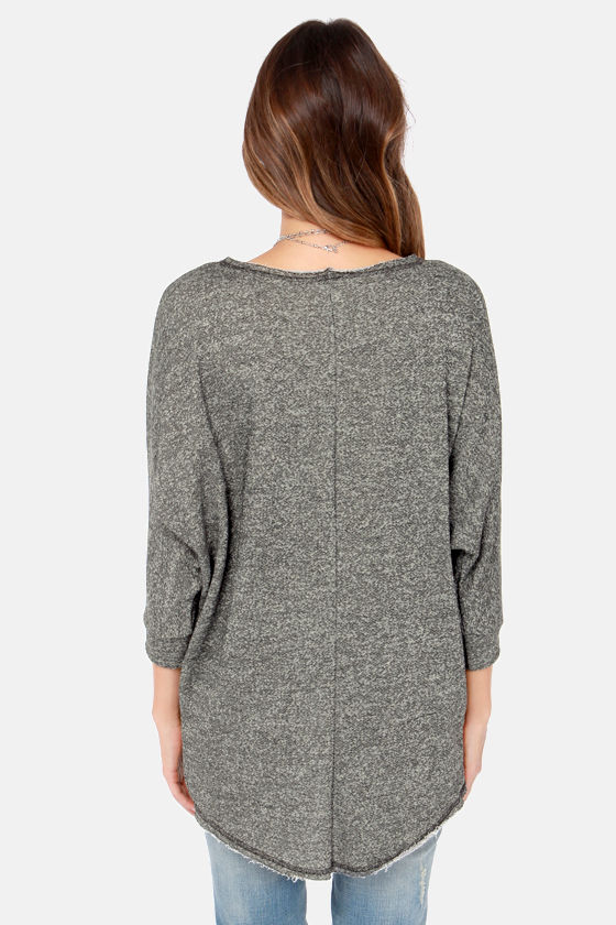 Quick Study Charcoal Grey Top at Lulus.com!
