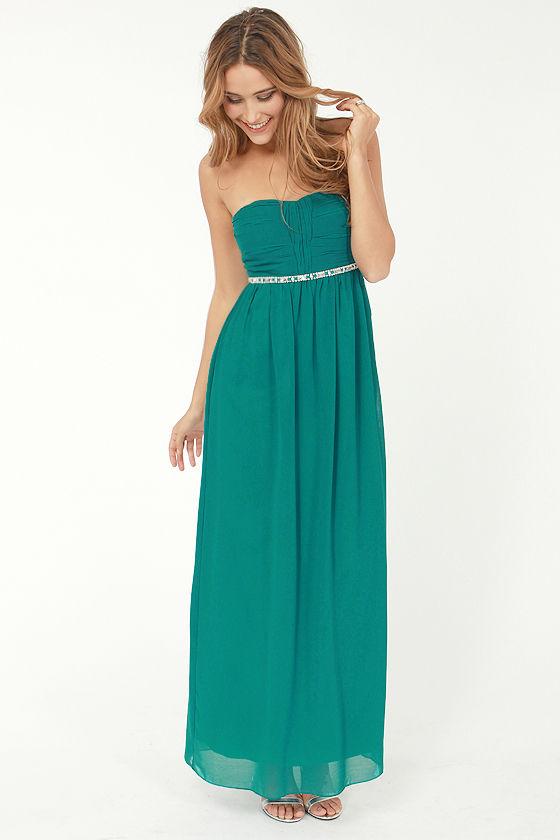 Pretty Teal Dress - Maxi Dress - Strapless Dress - $87.00
