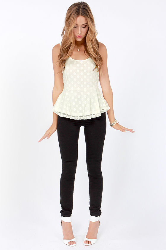 Volcom Let It Roll Ivory Polka Dot Top at Lulus.com!