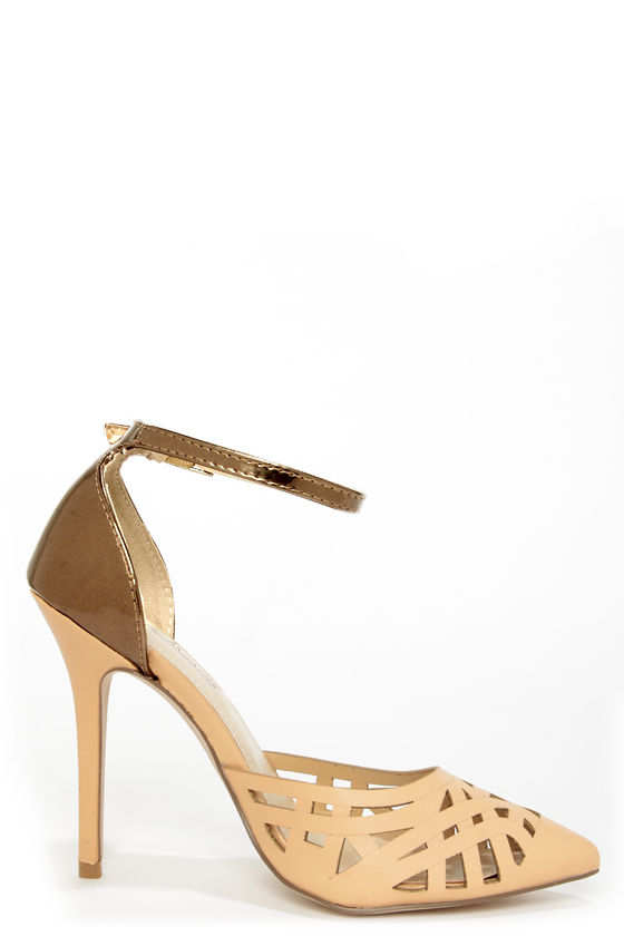Anne Michelle Spiral 11 Nude and Bronze Cutout Pointed Pumps at Lulus.com!
