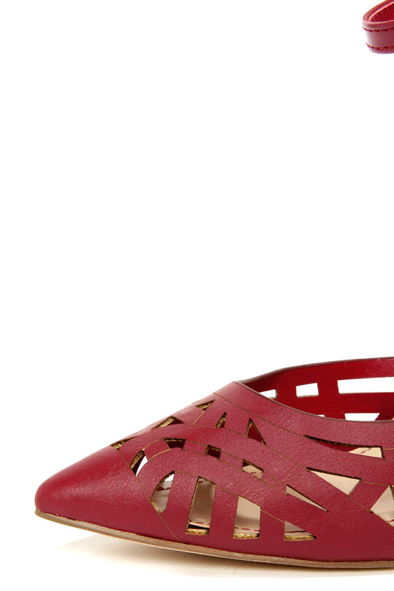 Anne Michelle Spiral 11 Red Cutout Pointed Pumps at Lulus.com!