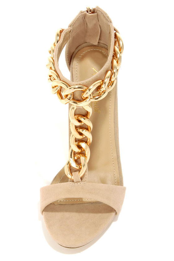 Anne Michelle Perton 20 Blush and Gold Chain Dress Sandals at Lulus.com!