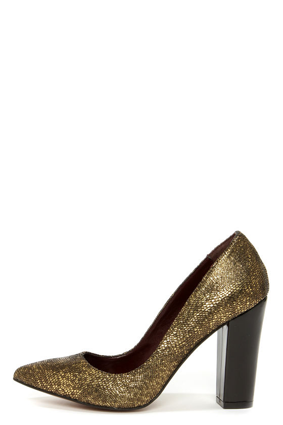 Report Signature Murphy Gold Snakeskin Chunky Heels at Lulus.com!