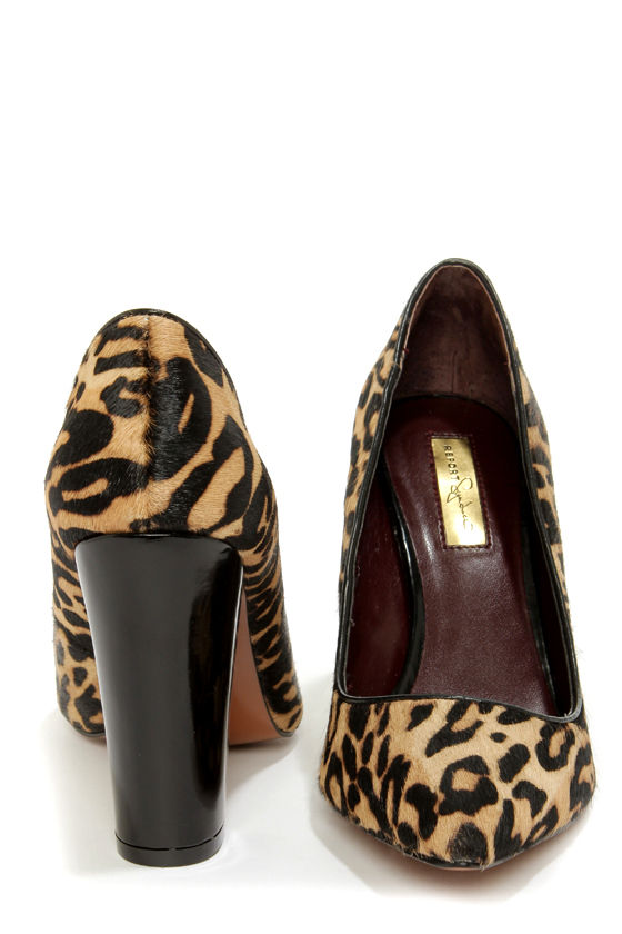 Cute Leopard Shoes - Pony Fur Shoes - Chunky Heels - $99.00