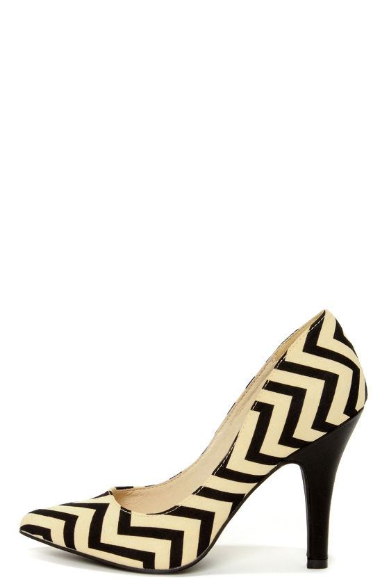 Restricted Jack Beige and Black Chevron Print Heels at Lulus.com!