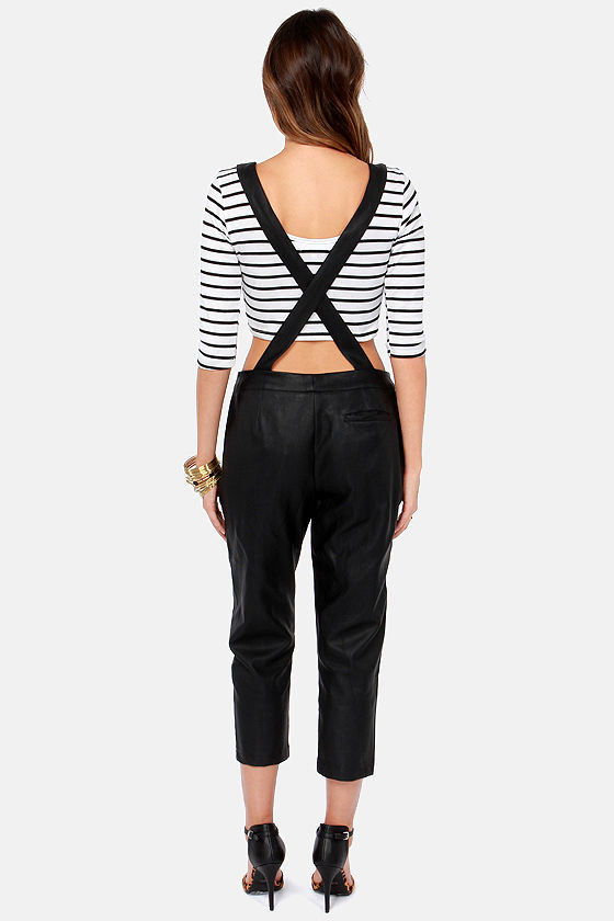 Overall Achiever Black Vegan Leather Overalls at Lulus.com!