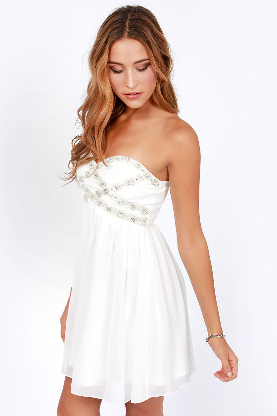 Getting to Know You Strapless White Dress at Lulus.com!