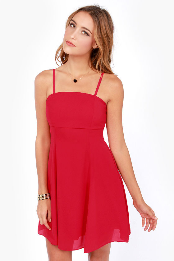Pick and Choose Strapless Red Dress at Lulus.com!
