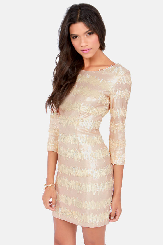 Swiss Buttercream Champagne Sequin Dress at Lulus.com!