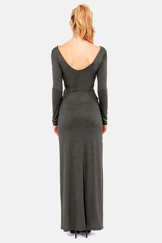 Which Side Are You On Dark Grey Maxi Dress at Lulus.com!