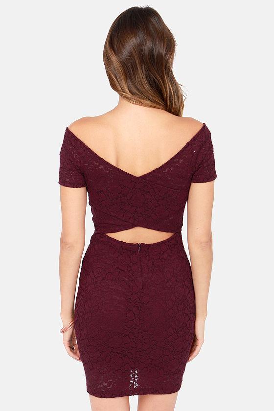 Never Let Go Off-the-Shoulder Burgundy Lace Dress at Lulus.com!