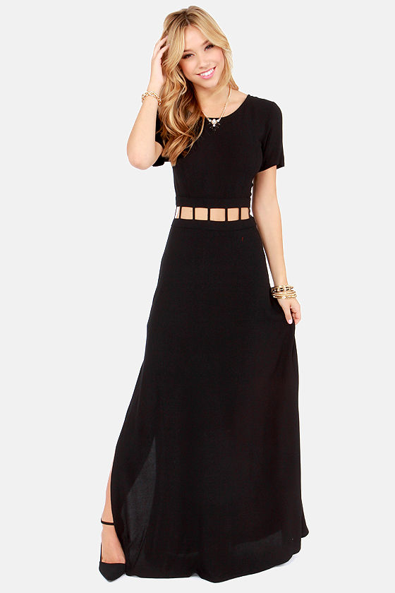 Night Watch Cutout Black Maxi Dress at Lulus.com!