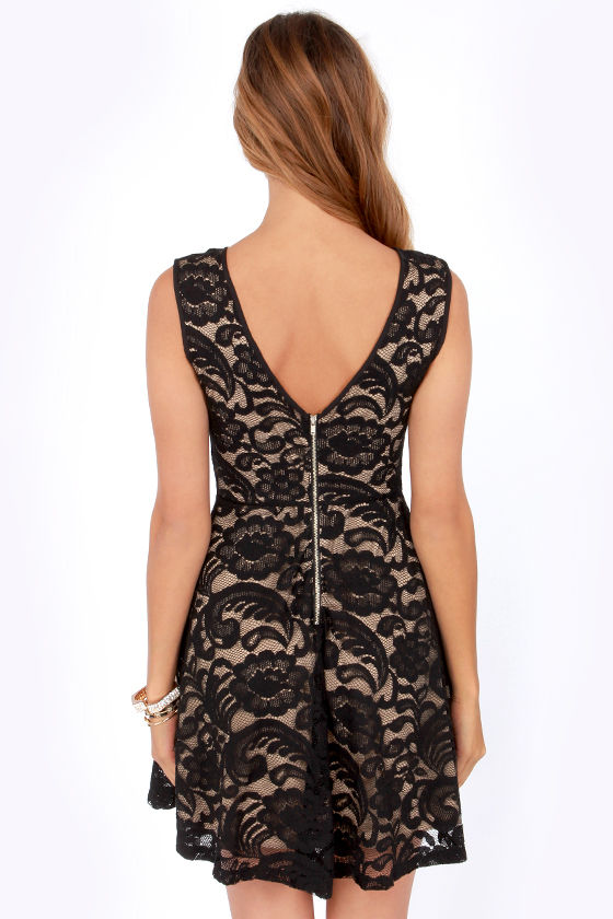 Just in Lace Beige and Black Dress at Lulus.com!