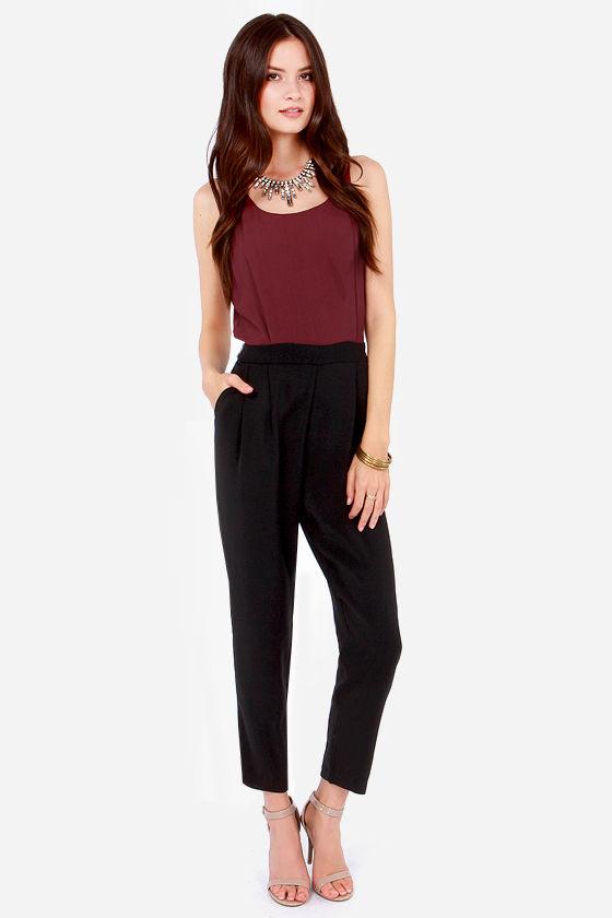9786cb1a6961 Sexy Burgundy Jumpsuit - Black Jumpsuit - Color Block Jumpsuit -  59.00