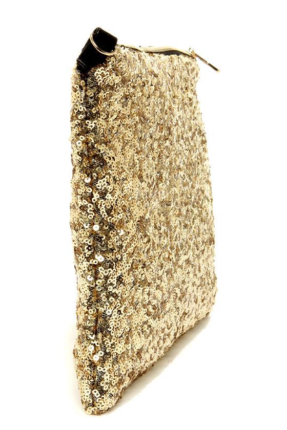Glitz-zilla Gold Sequin Clutch at Lulus.com!