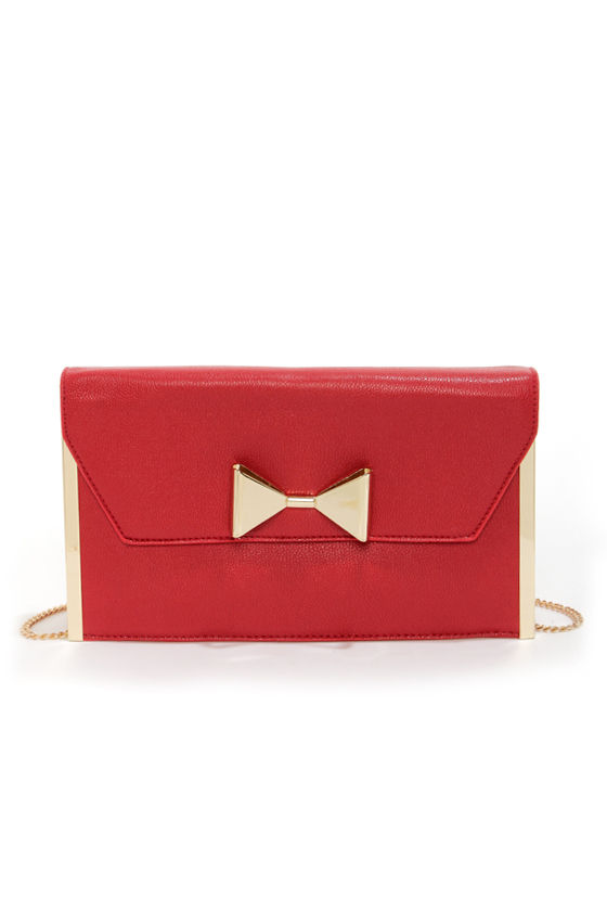 Purse-in of Interest Gold and Red Clutch at Lulus.com!