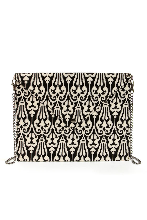 Letter Precious Black and White Envelope Clutch at Lulus.com!