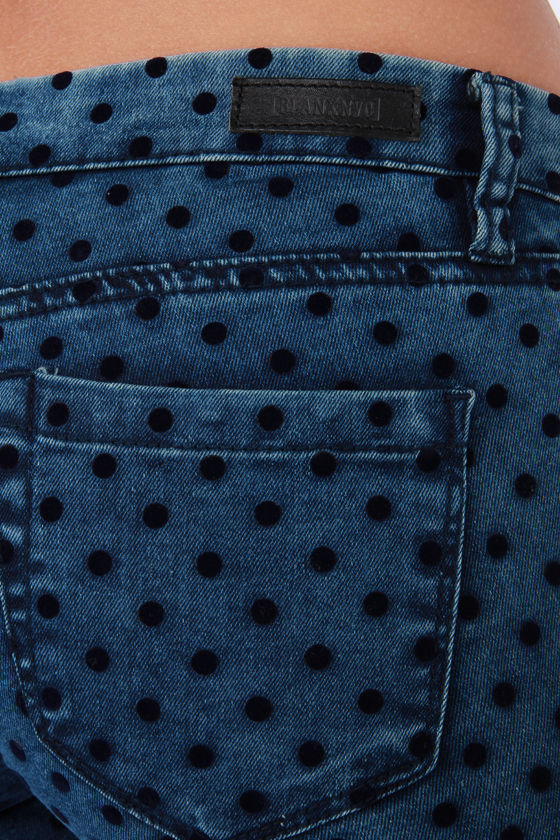 Blank NYC Spray On Blue Velvet Polka Dot Skinny Pants at Lulus.com!